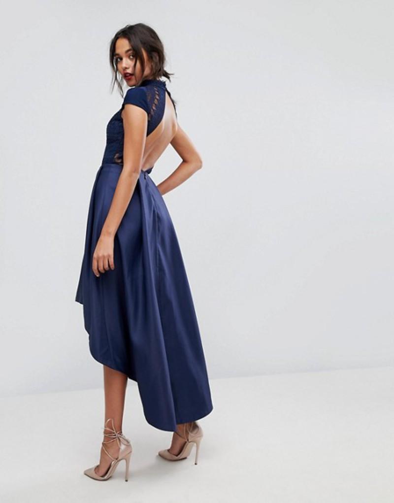 チチロンドン レディース ワンピース トップス Chi Chi London High Low Midi Prom Dress With Open Back Navy