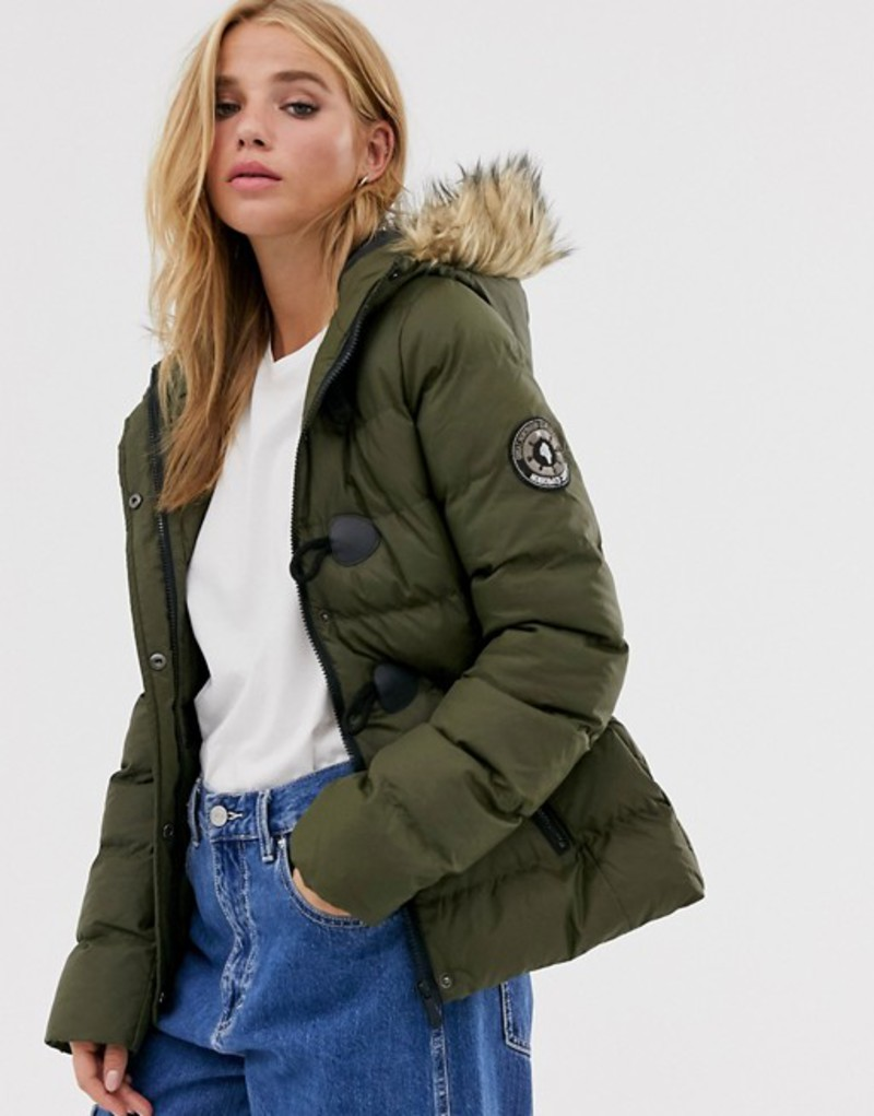 ブレーブソウル レディース コート アウター Brave Soul wizard padded coat with faux fur hood Khaki