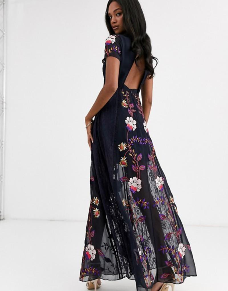 フロック レディース ワンピース トップス Frock & Frill embellished cut out back short sleeve maxi dress Navy