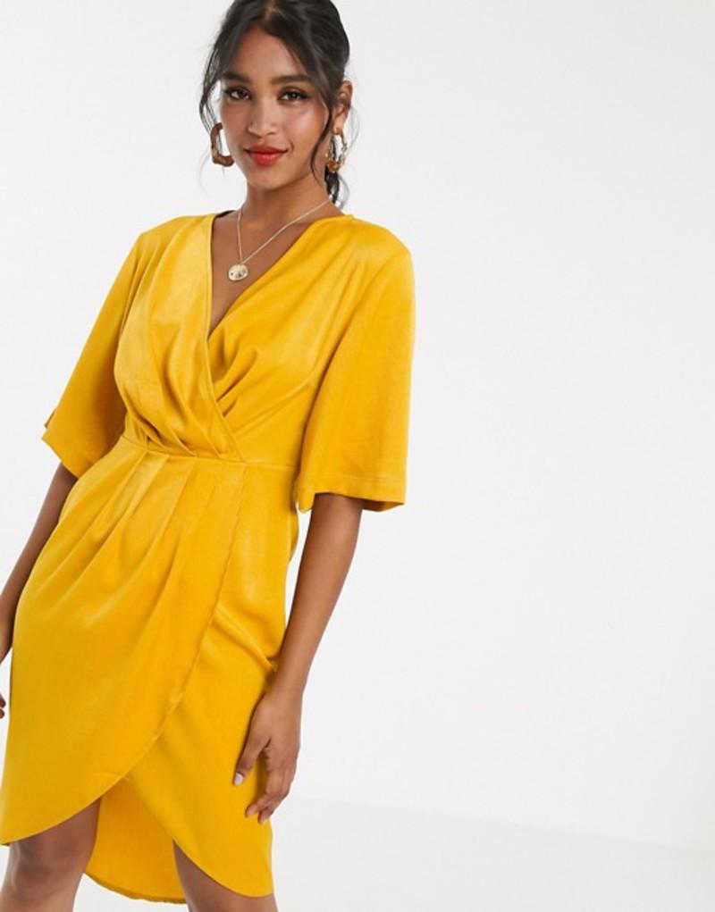ユニークトゥエンティワン レディース ワンピース トップス Unique21 luxe stain pleated wrap midi dress Yellow