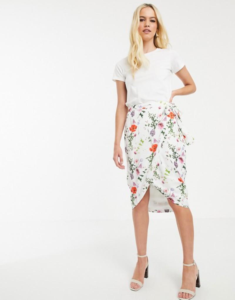 テッドベーカー レディース スカート ボトムス Ted Baker Camiila midi wrap skirt in hedgerow floral Ivory