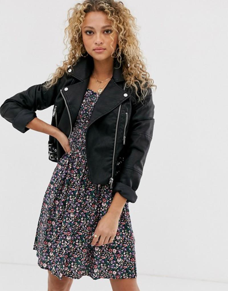 ニュールック レディース ジャケット・ブルゾン アウター New Look cropped PU jacket in black Black