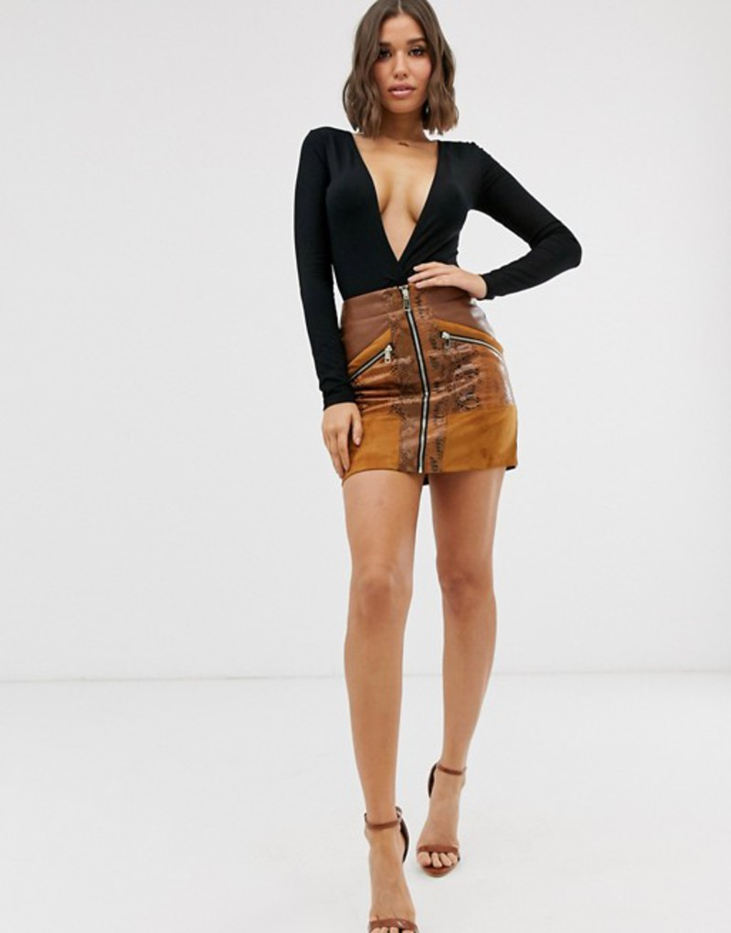 リバーアイランド レディース スカート ボトムス River Island faux leather zip through mini skirt in tan snake print Brown