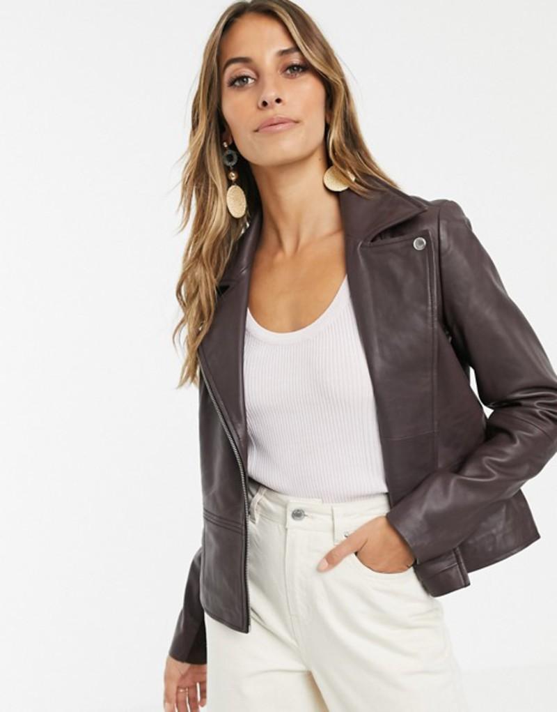 ワイエーエス レディース ジャケット・ブルゾン アウター Y.A.S leather jacket in chocolate Fudge