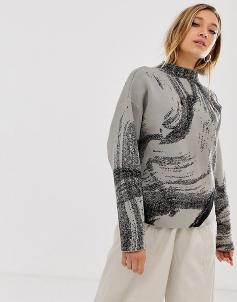 ウィークデイ レディース ニット・セーター アウター Weekday jacquard sweater in mole w black pattern Mole w black pattern