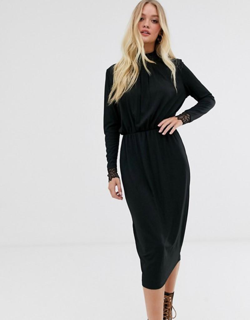 ワイエーエス レディース ワンピース トップス Y.A.S high neck plisse dress with lace cuff in black Black