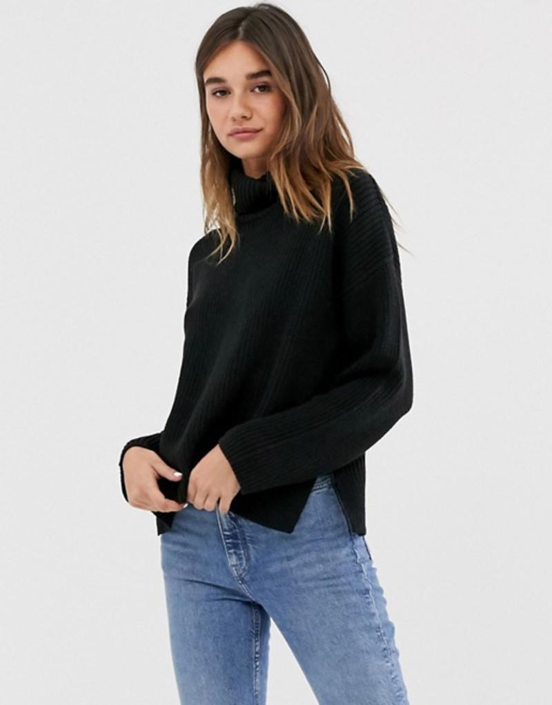 モンキ レディース ニット・セーター アウター Monki ribbed roll neck oversized sweater in black Black