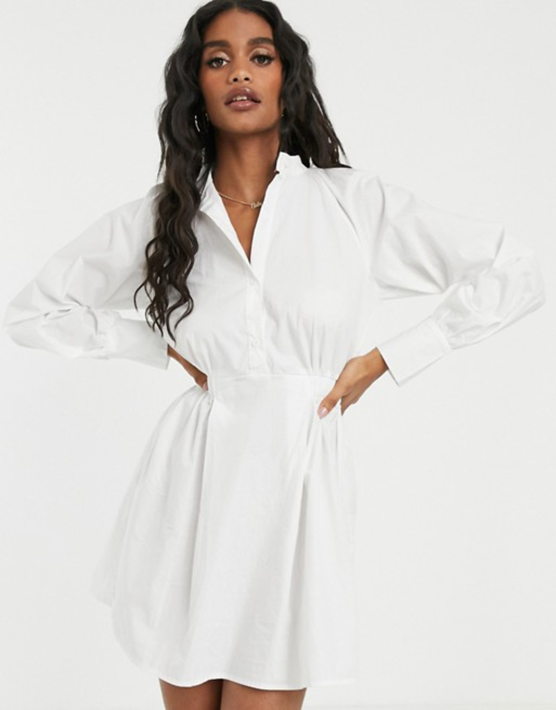 ミスガイデッド レディース ワンピース トップス Missguided poplin shirt dress with elasticated waist in white White