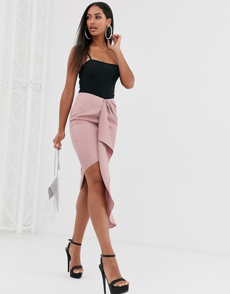 ミスガイデッド レディース スカート ボトムス Missguided drape midi skirt in rose Rose