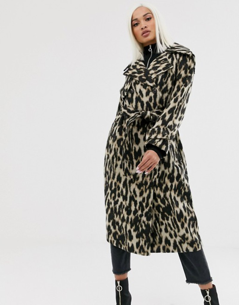 エイソス レディース コート アウター ASOS DESIGN oversized leopard belted coat Multi