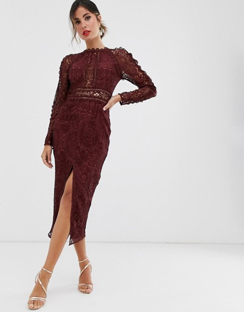エイソス レディース ワンピース トップス ASOS DESIGN long sleeve pencil dress in lace with geo lace trims Oxblood