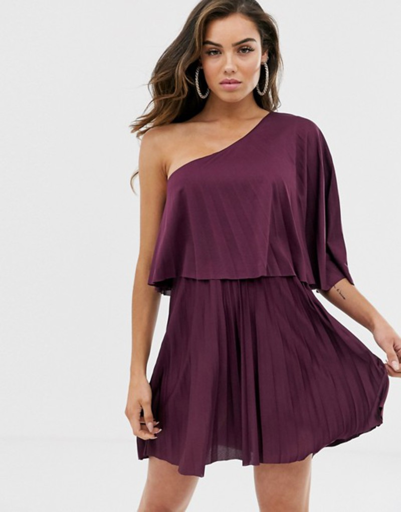 エイソス レディース ワンピース トップス ASOS One shoulder pleated crop top mini dress Aubergine