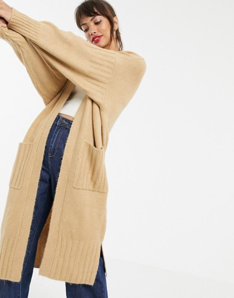エイソス レディース カーディガン アウター ASOS DESIGN maxi cardigan in fluffy yarn Camel