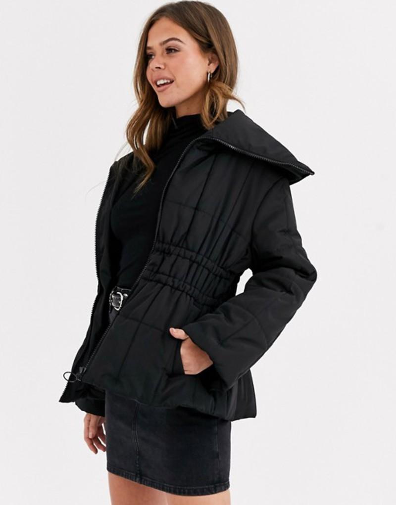 エイソス レディース ジャケット・ブルゾン アウター ASOS DESIGN ruched waist puffer jacket in black Black