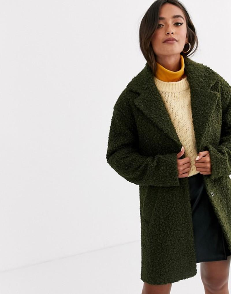 エイソス レディース コート アウター ASOS DESIGN textured cocoon coat Khaki