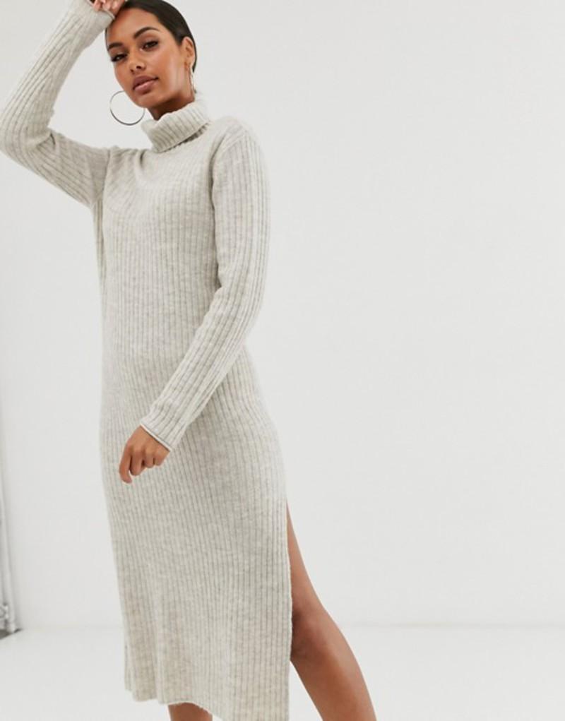 エイソス レディース ワンピース トップス ASOS DESIGN chunky midi dress with side split in recycled blend Taupe