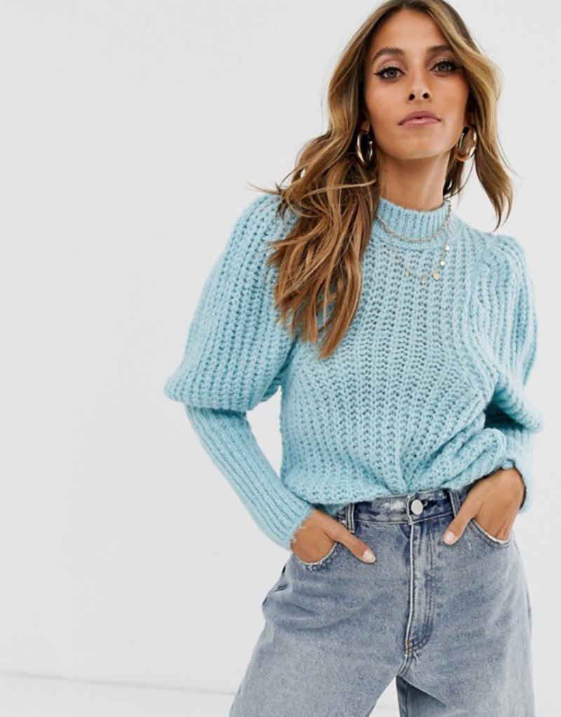 エイソス レディース ニット・セーター アウター ASOS DESIGN chunky rib balloon sleeve sweater in lofty yarn Blue