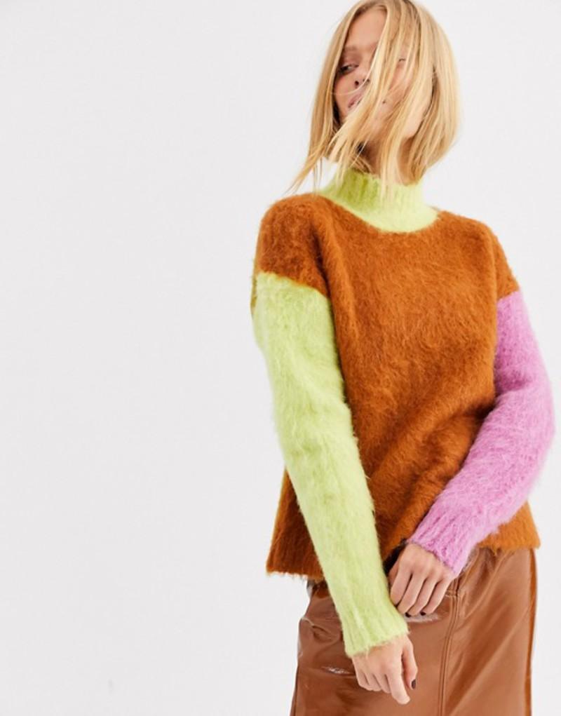 エイソス レディース ニット・セーター アウター ASOS WHITE contrast color block alpaca sweater Multi