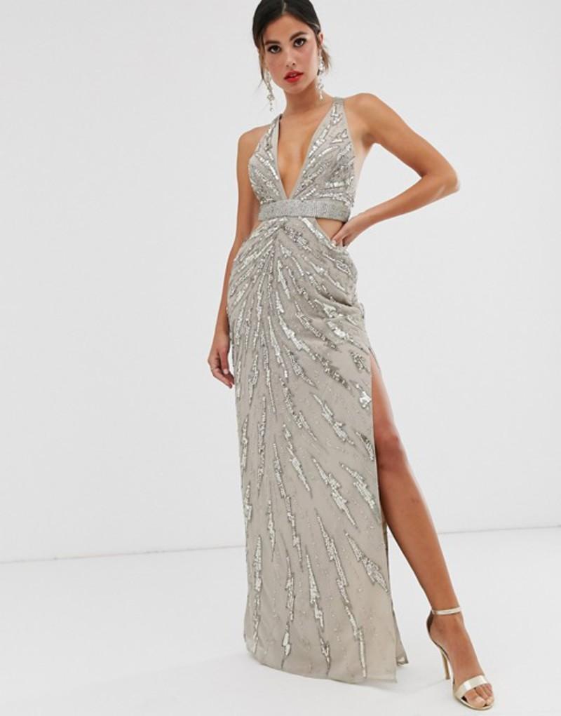 エイソス レディース ワンピース トップス ASOS DESIGN maxi dress with cut outs in heavy embellishment Taupe