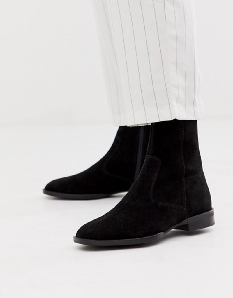 エイソス レディース ブーツ・レインブーツ シューズ ASOS DESIGN Alfie suede sock boots in black Black suede