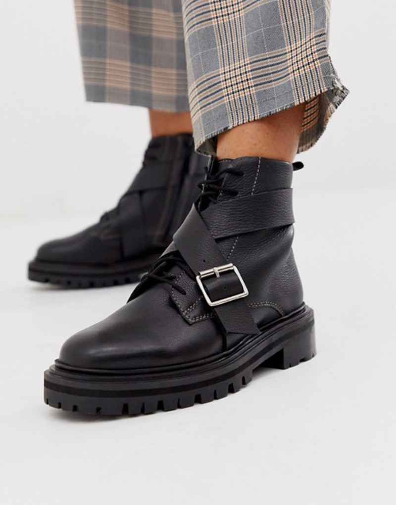 エイソス レディース ブーツ・レインブーツ シューズ ASOS DESIGN Agility premium leather chunky lace up boots in black Black leather