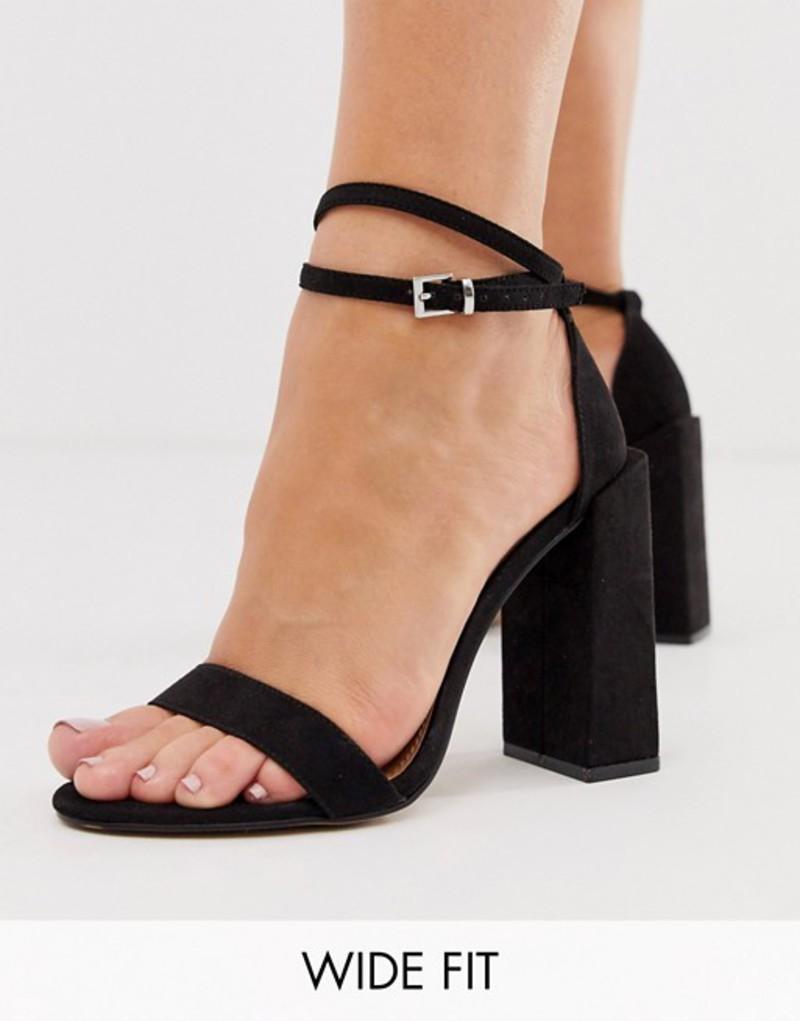 エイソス レディース サンダル シューズ ASOS DESIGN Wide Fit Highlight barely there heeled sandals in black Black