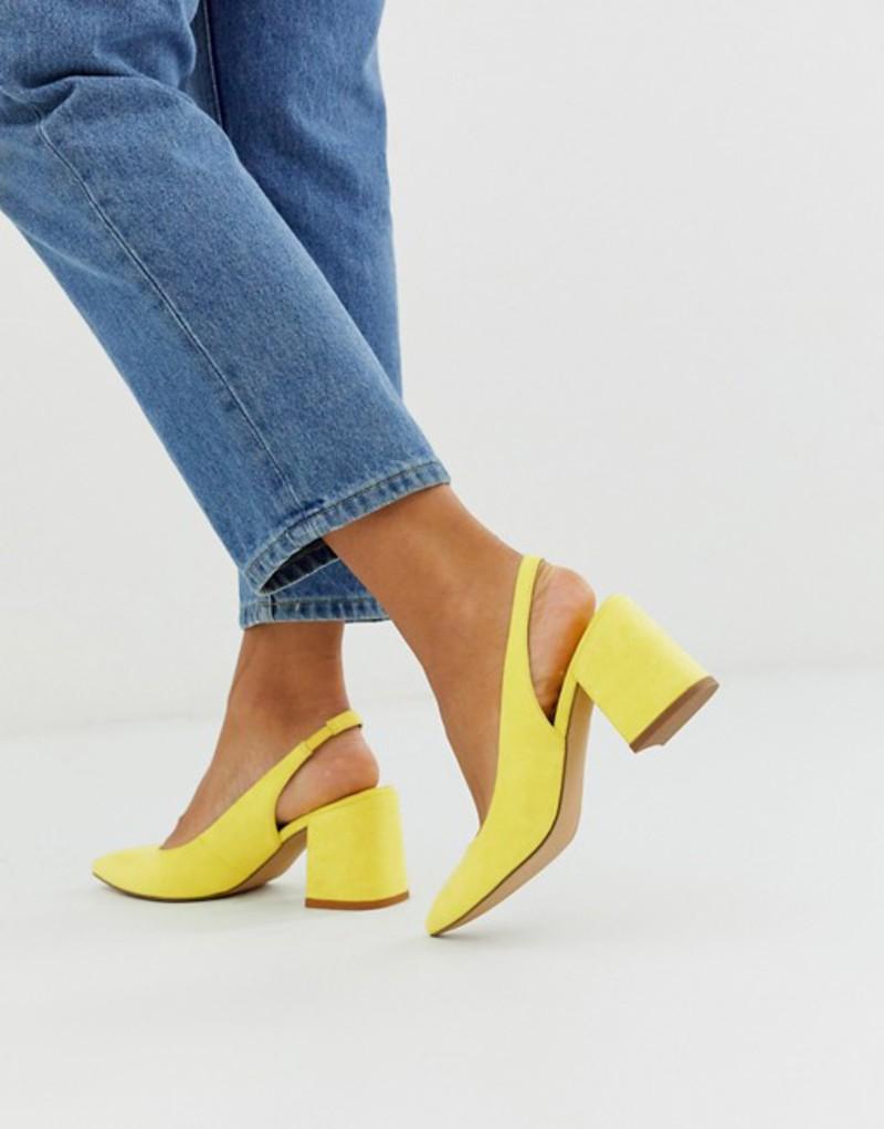 エイソス レディース ヒール シューズ ASOS DESIGN Samson slingback mid heels in pale yellow Pale yellow