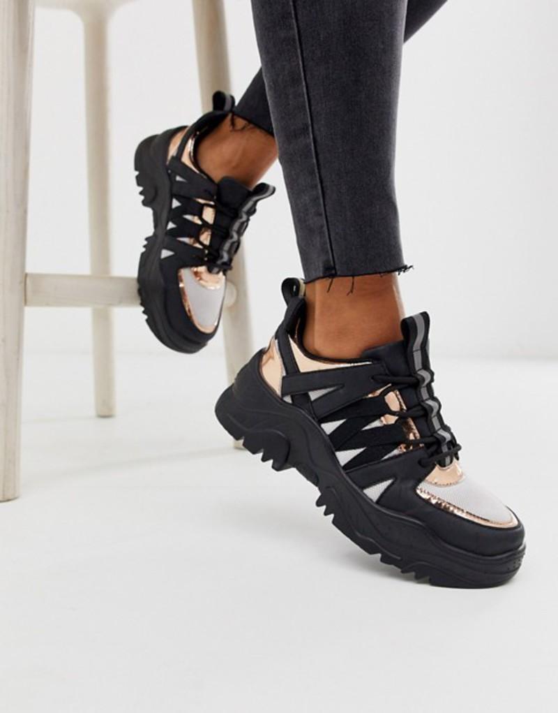 エイソス レディース スニーカー シューズ ASOS DESIGN Desert Daze chunky sneakers in black and rose gold Black/rose gold