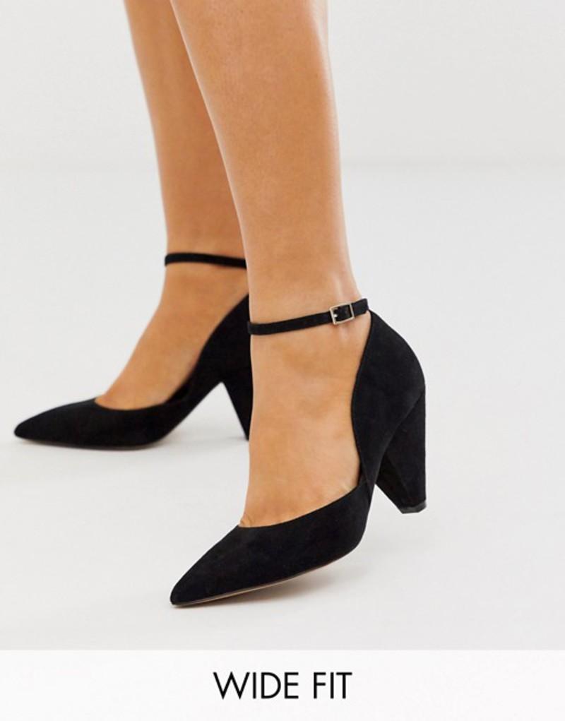 エイソス レディース ヒール シューズ ASOS DESIGN Wide Fit Speak Out pointed mid-heels in black Black