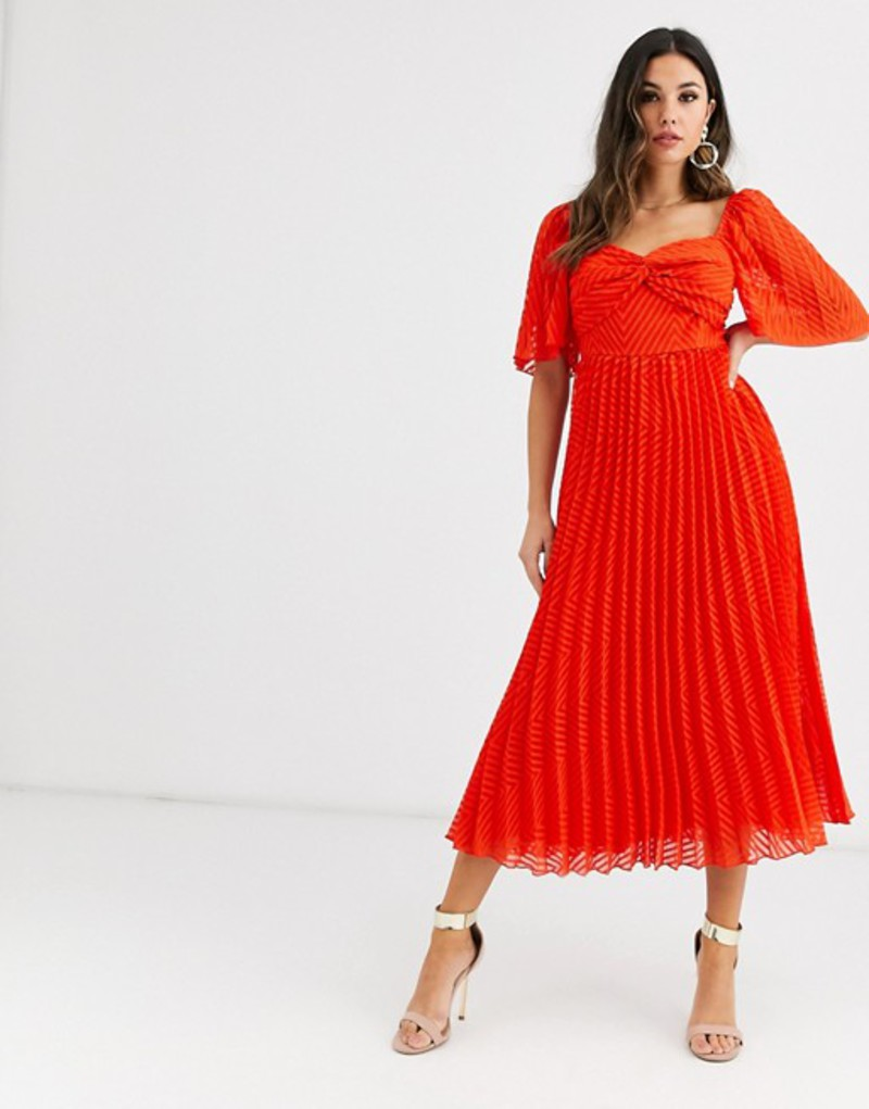 エイソス レディース ワンピース トップス ASOS DESIGN twist front pleated midi dress with angel sleeve in chevron dobby Red
