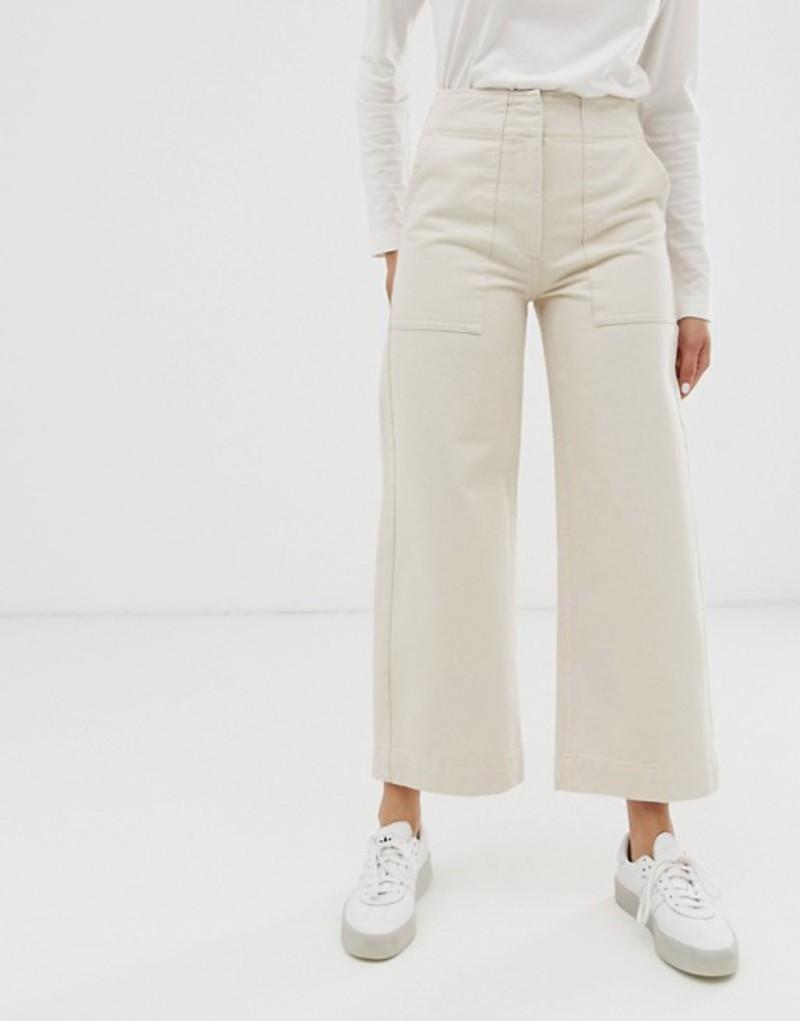 エイソス レディース デニムパンツ ボトムス ASOS DESIGN Cropped wide leg carpenter jeans with contrast stitch in ecru Ecru