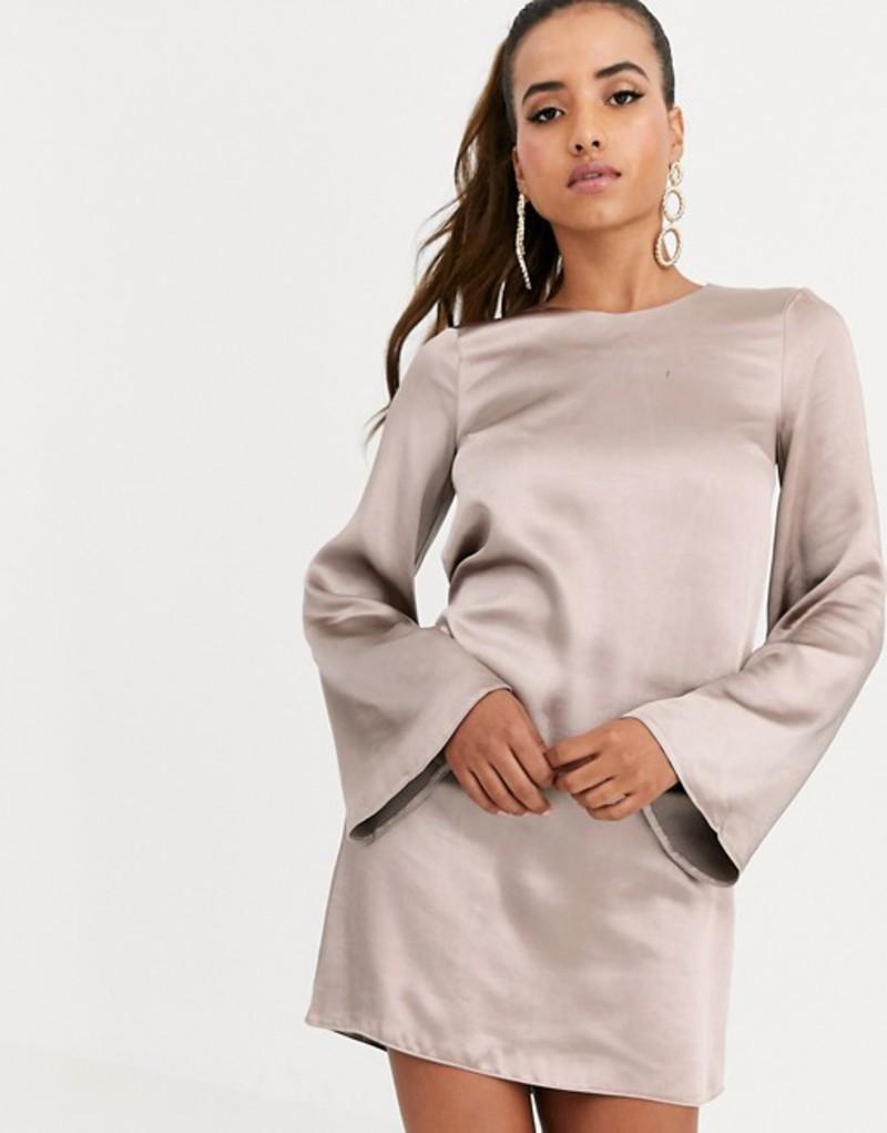 エイソス レディース ワンピース トップス ASOS DESIGN long sleeve satin shift mini dress in washed satin Taupe