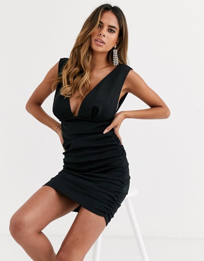エイソス レディース ワンピース トップス ASOS DESIGN Fuller Bust ruched plunge mini dress Black