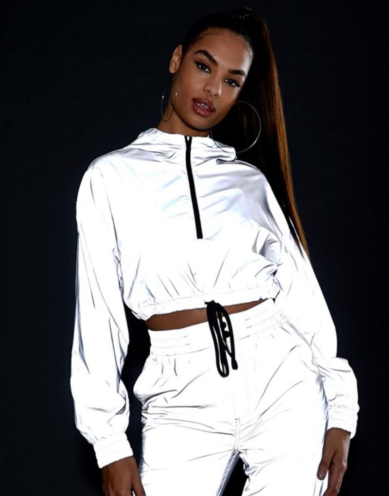 エイソス レディース ジャケット・ブルゾン アウター ASOS DESIGN reflective cropped tracksuit jacket Silver