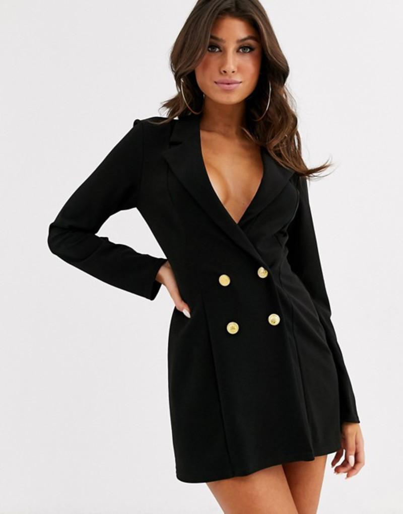 エイソス レディース ジャケット・ブルゾン アウター ASOS DESIGN glam double breasted jersey blazer Black