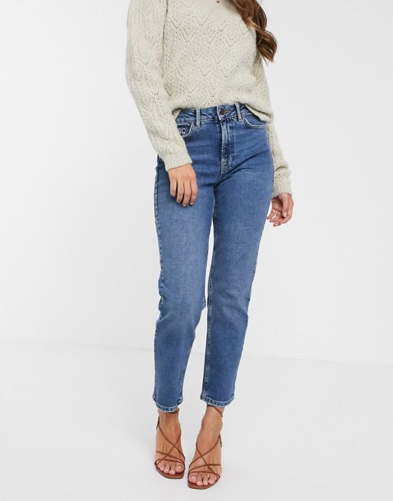 ヴェロモーダ レディース デニムパンツ ボトムス Vero Moda organic cotton straight leg jeans in mid blue Mbd