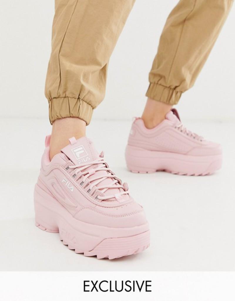 フィラ レディース スニーカー シューズ Fila Disruptor II platform wedge sneakers in pink exclusive to ASOS Pink