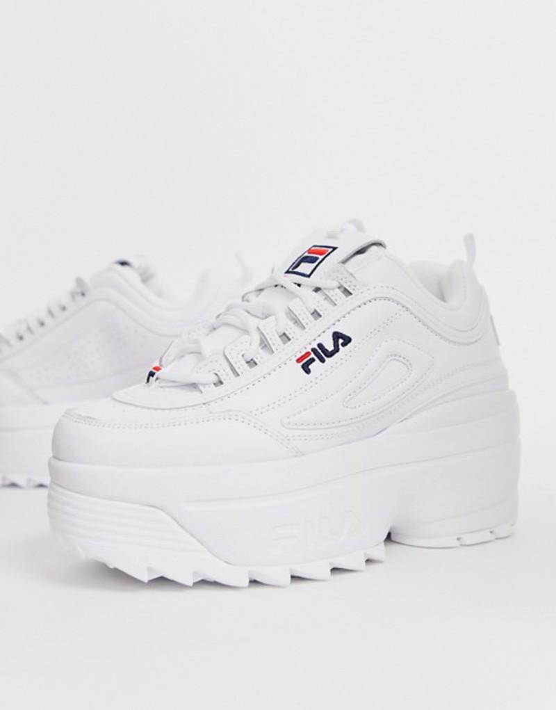 フィラ レディース スニーカー シューズ Fila Disruptor II platform wedge sneakers in white White