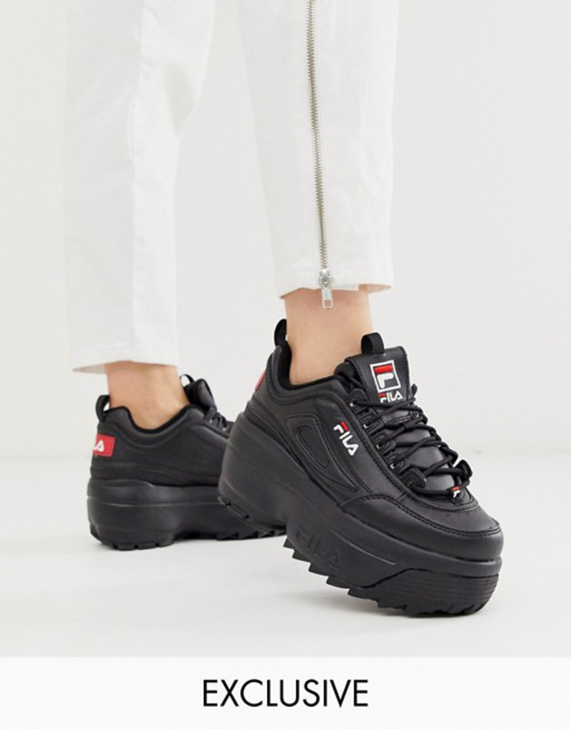 フィラ レディース スニーカー シューズ Fila Disruptor II platform wedge sneakers in black exclusive to ASOS Black