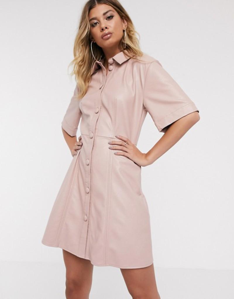 エイソス レディース ワンピース トップス ASOS DESIGN leather look mini button through shirt dress Pale pink