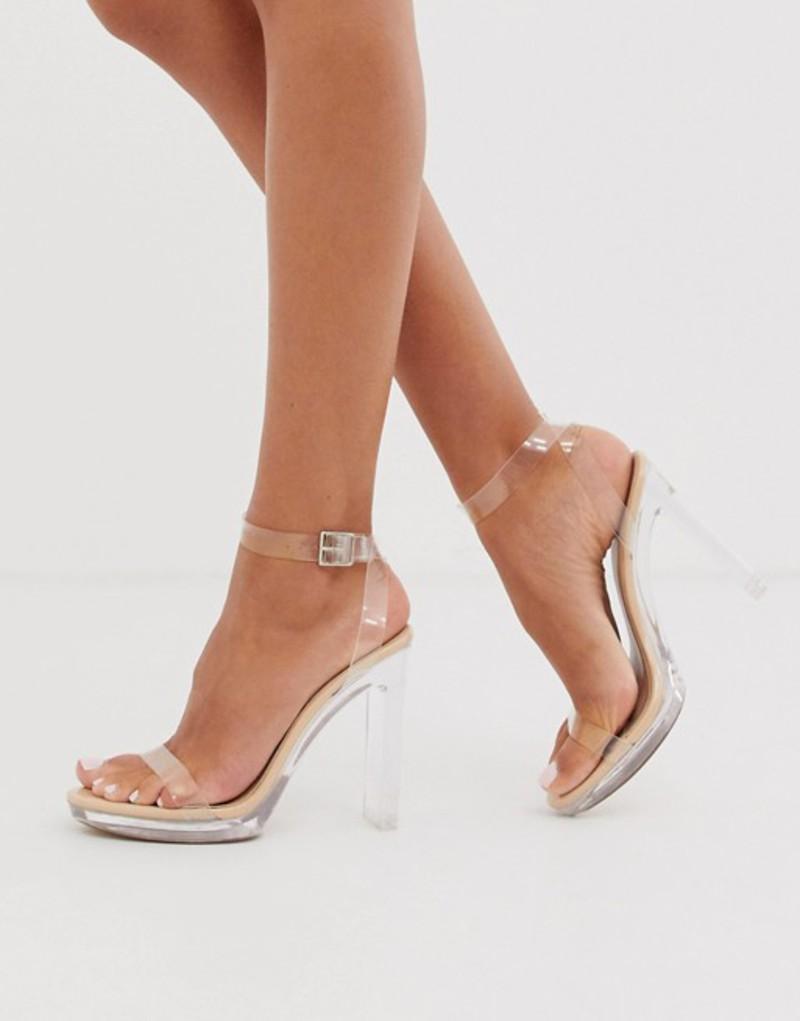 パブリックデザイア レディース サンダル シューズ Public Desire Steal platform perspex heeled sandal in beige Beige patent