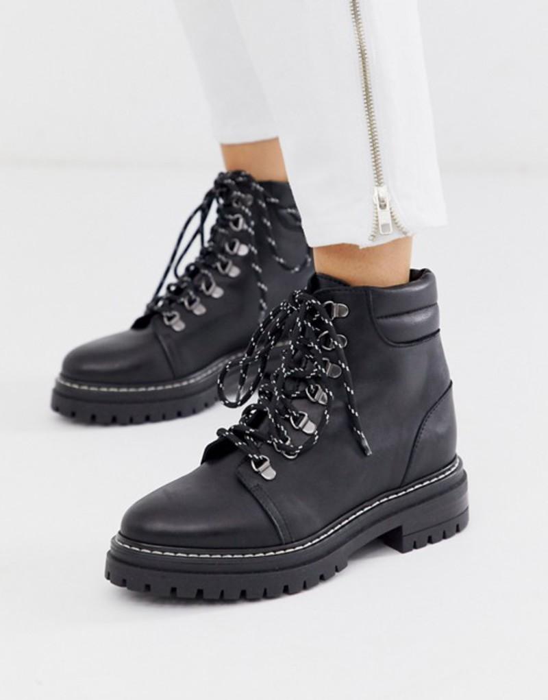 ホイッスルズ レディース ブーツ・レインブーツ シューズ Whistles amber leather lace up hiking boots Black