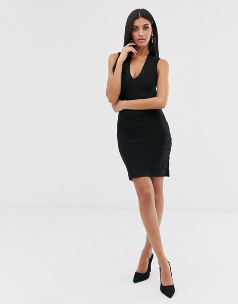 フレンチコネクション レディース ワンピース トップス French Connection bandage bodycon dress Black