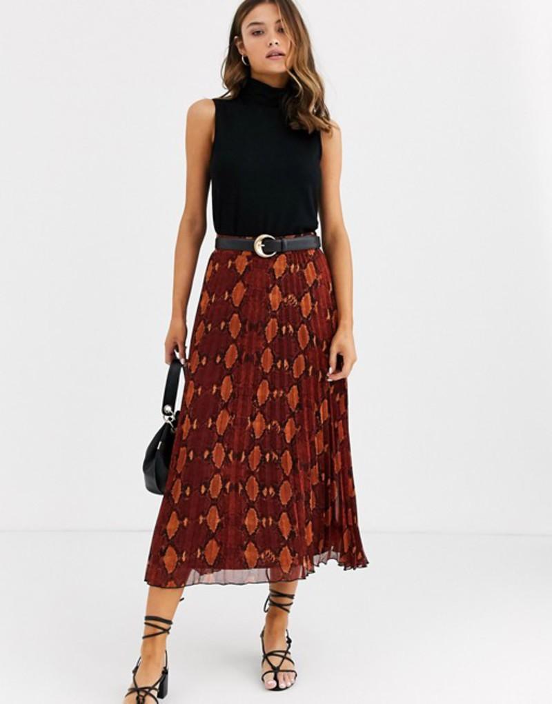 ウエアハウス レディース スカート ボトムス Warehouse pleated midi skirt in snake print Orange print