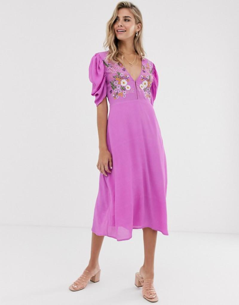 クレオベラ レディース ワンピース トップス Cleobella amber embroidered maxi dress Violet