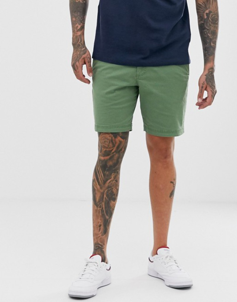 オリジナルペンギン メンズ ハーフパンツ・ショーツ ボトムス Original Penguin slim fit shorts in khaki green Elm green