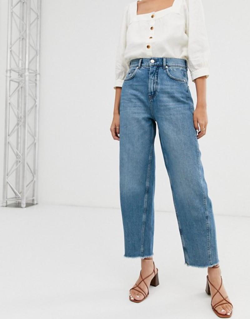 ホイッスルズ レディース デニムパンツ ボトムス Whistles High waist frayed hem barrel leg jeans Mid wash