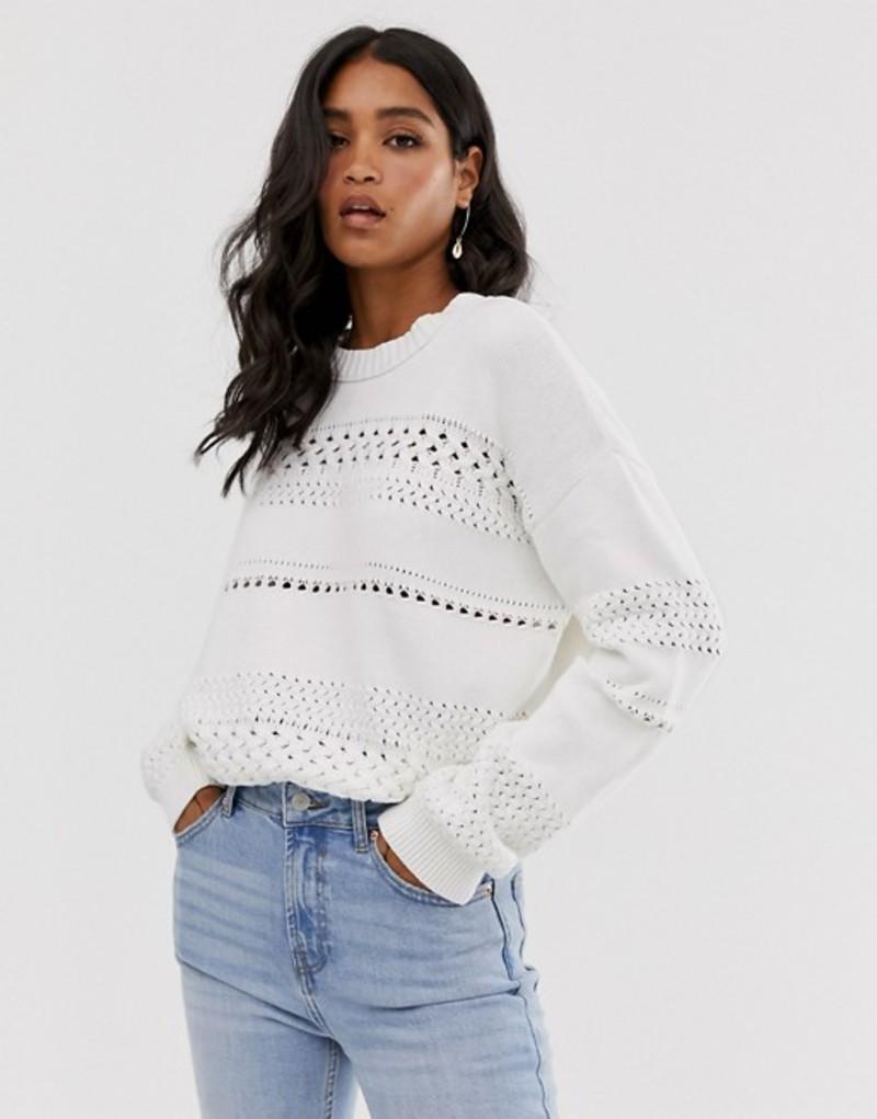 フレンチコネクション レディース ニット・セーター アウター French Connection mozart knit high neck textured sweater Winter white
