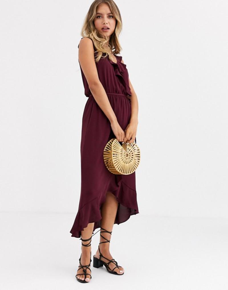 オアシス レディース ワンピース トップス Oasis wrap midi dress with ruffles in berry Berry