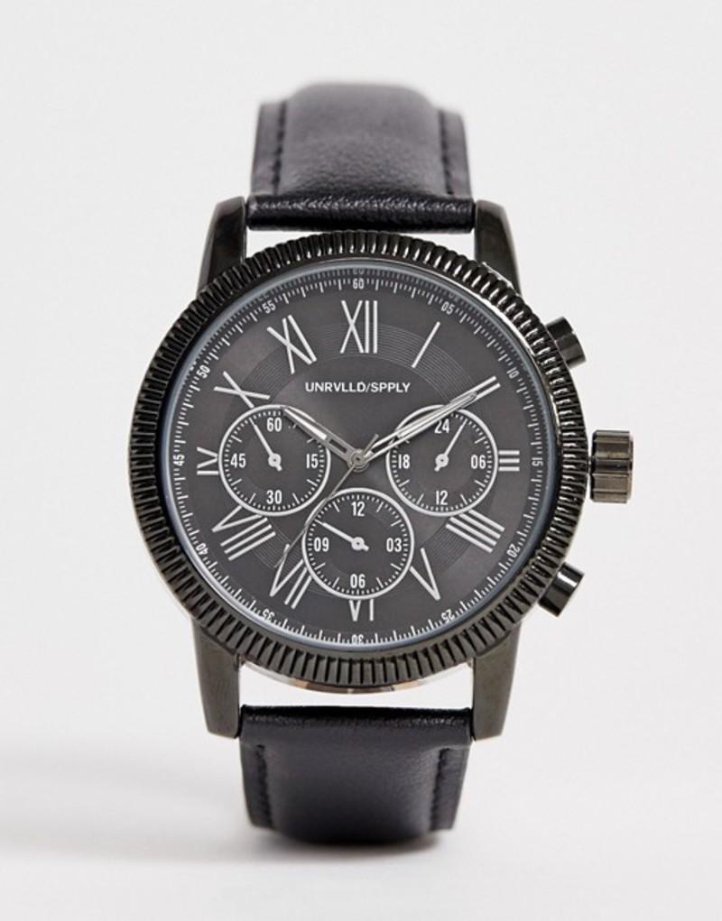 エイソス メンズ 腕時計 アクセサリー ASOS DESIGN oversized watch with subdial detail in black leather Black